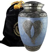 urn for human ashes loving angel wings blue and silver burial or funeral