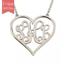 silver monogram necklace heart monogram necklace sterling silver