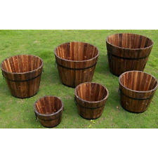 whiskey barrel planter set of 4 round cedar wine garden pot rustic
