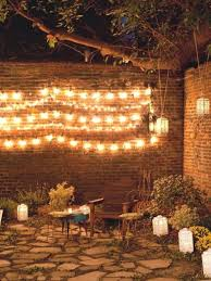 String Lights Garden by Brick Wall Design With Enticing String Lights And Stone Floor For