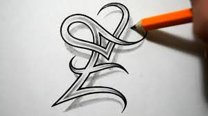 letters designs for tattoos initial e and heart combined together celtic weave style