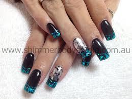 gel nails black nails colour nails foil nail art nails full