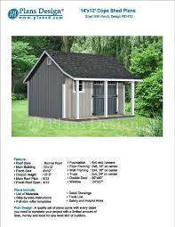 14 u0027 x 12 u0027 garden storage shed with porch plans blueprints