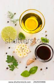 ingredients salad dressing olive oil balsamic stock photo