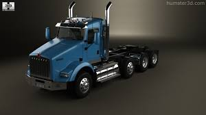 kenworth chassis 360 view of kenworth t800 chassis truck 4 axle 2005 3d model