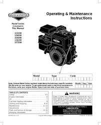 briggs u0026 stratton 135200 user manual 20 pages also for 134200