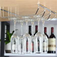 Wine Glass Storage Cabinet by Silver Metal Wine Glass Rack Holder Bar Kitchen Cup Wine Glasses