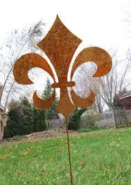 fleur de lis garden stake garden ornament rustic