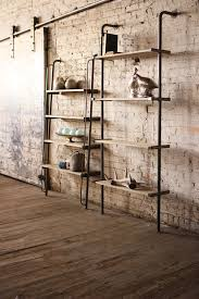Kitchen Wall Shelf Leaning Wood And Metal Wall Shelving Unit Could Easily Be Used On