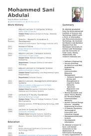 Resume Samples For Professors by Resume Samples For Lecturer In Computer Science 4316