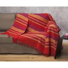 jeté de canapé multico jete tisse raye 180x250 cm achat vente jetée de lit