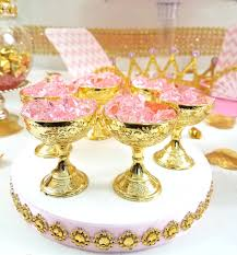 12 small gold cup favors for royal princess baby shower