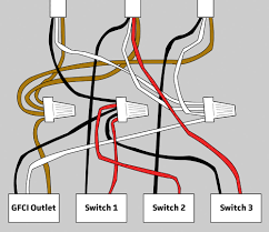 electrical wiring for gfci and 3 switches in bathroom home with