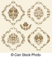 vector illustration of set of vector damask ornaments floral