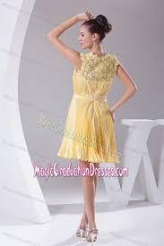 eighth grade graduation dress scoop neck pleated sash yellow eighth grade graduation dress