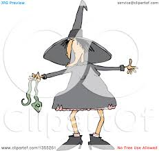 clipart of a cartoon chubby warty halloween witch holding a snake