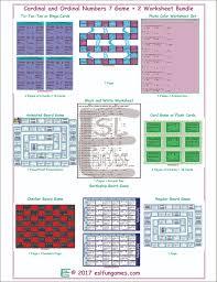 cardinal ordinal numbers 7 game 2 worksheet bundle esl fun games