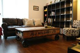 Coffee Tables With Wheels Stenciled Coffee Table On Iron Spoke Wheels Living Room
