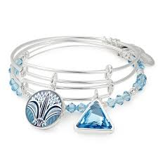silver bangle bracelet with charms images Alex and ani set of 3 blue lotus flower charm bangle bracelets jpg