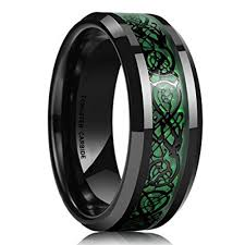mens celtic wedding bands 8mm unisex or men s tungsten wedding band black and green mens