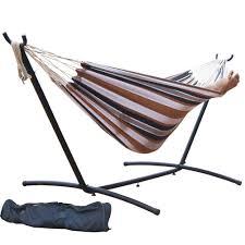 amazon com prime garden 9 u0027 double hammock with space saving
