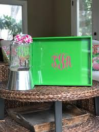 monogrammed tray monogrammed tray personalized tray lacquer tray serving tray