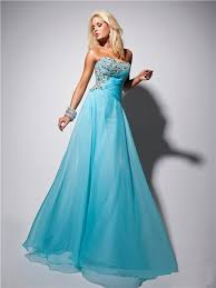 strapless long light blue chiffon prom dress with beading