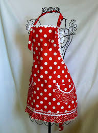 Cute Aprons For Women Womens Full Apron Red And White Polka Dots Retro Ruffles