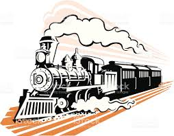 old fashioned steam train in black and white stock vector art