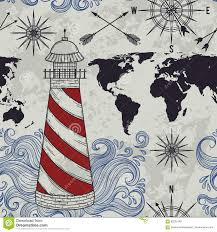 Map Rose Seamless Pattern With Lighthouse Waves Compass World Map And