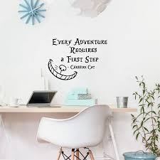 alice in wonderland characters promotion shop for promotional alice in wonderland wall sticker quotes cheshire cat every adventure requires a first step vinyl wall decals art home decortion