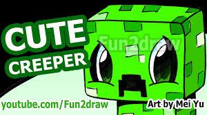 cute creeper how to draw a minecraft creeper fun2draw style