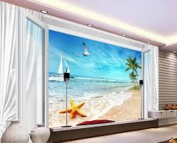 online get cheap wall mural tree aliexpress com alibaba group 3d wallpaper blue sky white cloud 3d window starfish beach tree photo 3d wallpaper 3d wall murals wallpaper