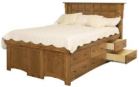 Mission Style Bedroom Furniture Cherry California King Solid Wood Pedestal Bed With 12 Drawers By