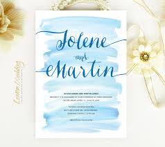 wedding invitations blue watercolor wedding invitations lemonwedding