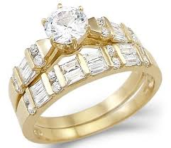 yellow gold wedding ring sets new solid 14k yellow gold solitaire cz cubic zirconia