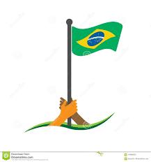 The Flag Of Brazil Hand Holding The Flag Brazil Flag Vector The Concept Of Holding