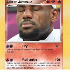 Lebron James Crying Meme - lebron james lv 1 40 hp cry 30 lebron james face plants and does