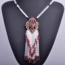 necklace for turkish royal white tassel necklace bohemia big pendant