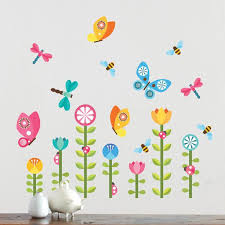 butterfly and flowers wall stickers decals for petit collage