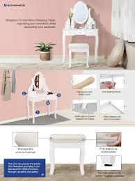 Pine Vanity Table Amazon Com Songmics Vanity Set With Mirror And Stool Make Up