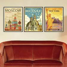 aliexpress com buy triptych vintage retro new york rome moscow