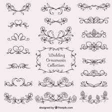 sketches wedding ornament collection vector free