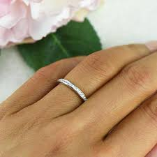 channel set wedding band small channel set half eternity ring stacking wedding band