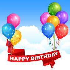happy birthday ribbon happy birthday ribbon with colored balloon vector vector