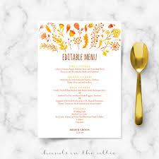 wedding menu template fall wedding menu template editable menu cards in the attic