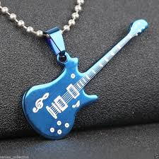 stainless steel guitar necklace images Stainless steel blue guitar pendant with necklace sanlax collections jpg