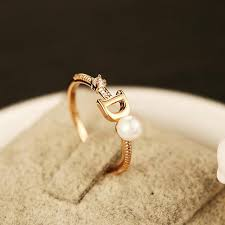 gold ring design 2017 new brand fashion design ring d letter pearl