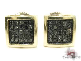 mens black diamond earrings square black diamond earrings for men iwajewelry