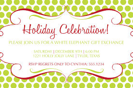 cute christmas party invitations white elephant 45 on card
